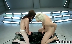 Squirting lesbian hotties bawdy cleft toyed hard by tool