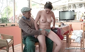 Meticulous titted french subfuscous team-fucked wide of papy voyeur