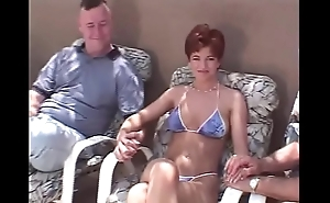 Snappy hair redhead swinger Three-some